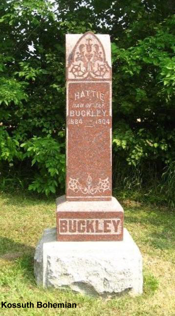 Buckley hattie dau of j f buckley 1884 1904 tombstone hattie